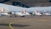 Een aantal Cityjet Fokker 50\'s op Rotterdam Airport