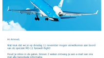 MD-11 farewell flight e-mail bevestiging