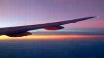 Zonsopgang boven Australië vanuit Malaysia Airlines Boeing 777-200 (9M-MRG)