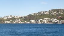 Panorama uitzicht over de baai bij Wellington