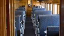 Historische trein op station Dunedin