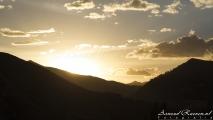 Zonsondergang onderweg naar Cusco