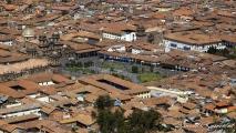 Uitzicht op Plaza de Armas in Cusco