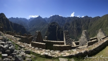 Panorama uitzicht op huizen in Machu Picchu