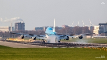 KLM 747 landing photo used on KLM's Facebook page (2014)